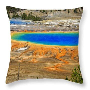 Grand Prismatic Geyser Yellowstone National Park Throw Pillow
