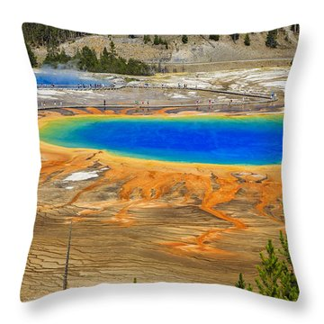 Grand Prismatic Geyser Yellowstone National Park Throw Pillow