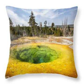 Throw Pillow featuring the photograph Morning Glory Pool In Yellowstone National Park by Bryan Mullennix