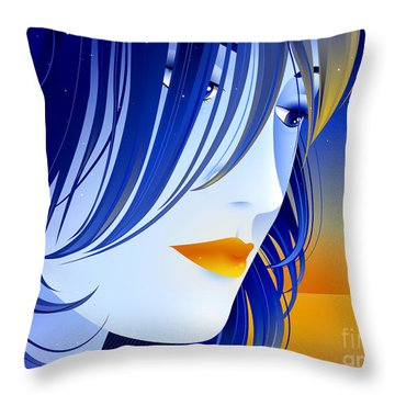 Morning Glory Throw Pillow by Sandra Hoefer