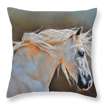 Throw Pillow featuring the drawing Morning Glow by Elena Kolotusha