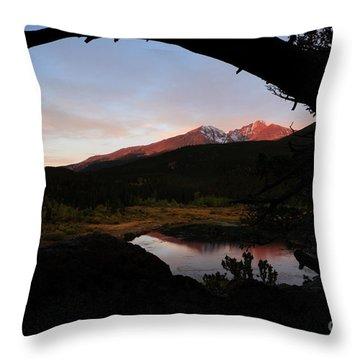 Morning Glow On Mountain Peaks Throw Pillow