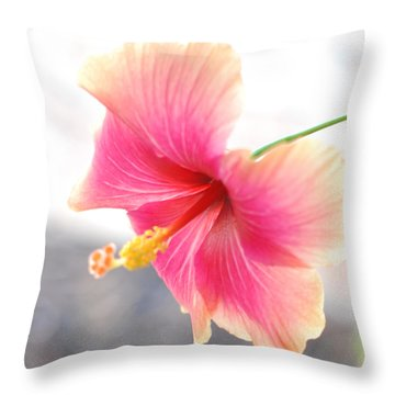 Morning Hibiscus In Gentle Light - Square Macro Throw Pillow by Connie Fox