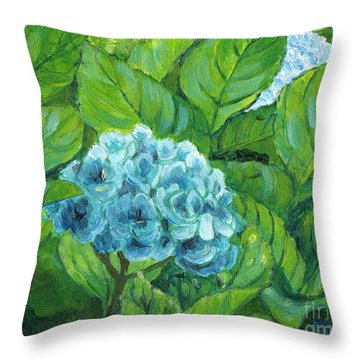 Throw Pillow featuring the painting Morning Hydrangea by Jingfen Hwu