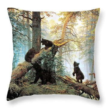 Morning In A Pine Forest Throw Pillow