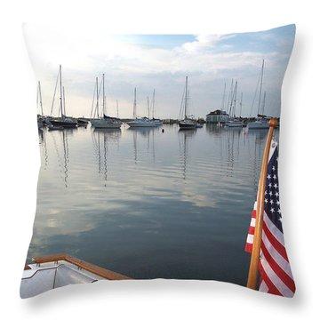 Morning In Cuttyhunk Harbor Throw Pillow