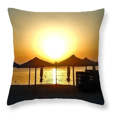 Morning In Greece Throw Pillow by Nina Ficur Feenan