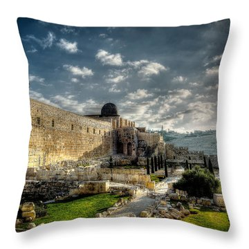 Morning In Jerusalem Hdr Throw Pillow