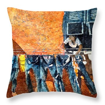 Morning In Monterosso  Throw Pillow