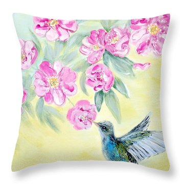 Morning In My Garden. Card Throw Pillow