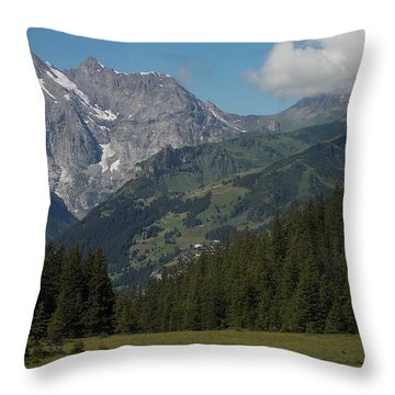 Morning In The Alps Throw Pillow