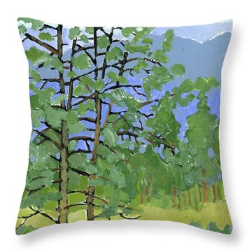 Morning In The Hills Throw Pillow