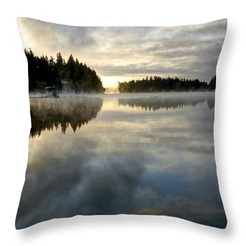 Morning Lake Reflection Throw Pillow