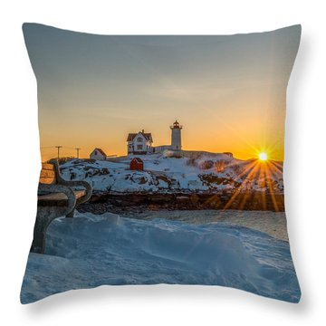 Morning Light At Nubble Lighthouse Throw Pillow