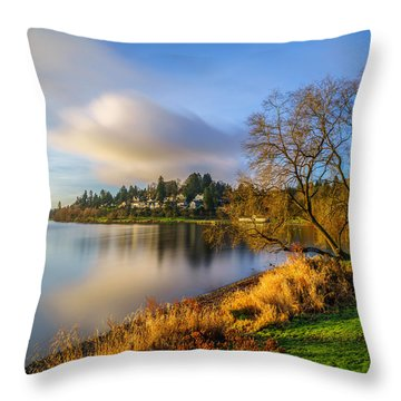 Throw Pillow featuring the photograph Morning Light At The Lake by Ken Stanback