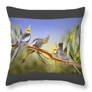 Morning Light - Cockatiels Throw Pillow by Frances McMahon