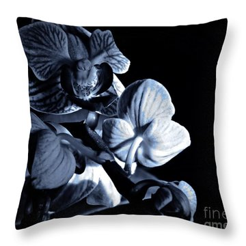 Morning Light Orchids Cyan Throw Pillow