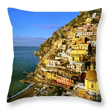 Morning Light Positano Italy Throw Pillow