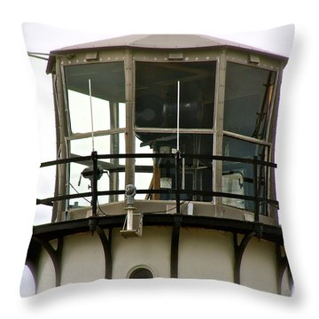 Morning Mist At Chatham Light Throw Pillow by Ira Shander