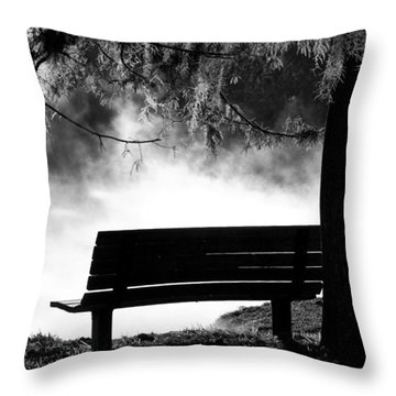 Morning Mist At The Spring Throw Pillow