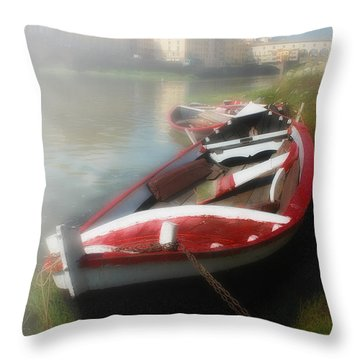 Morning Mist On The Arno River Italy Throw Pillow by Mike Nellums