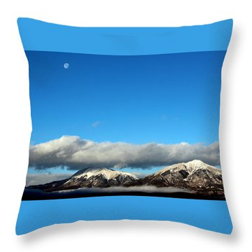 Throw Pillow featuring the photograph Morning Moon Over Spanish Peaks by Barbara Chichester