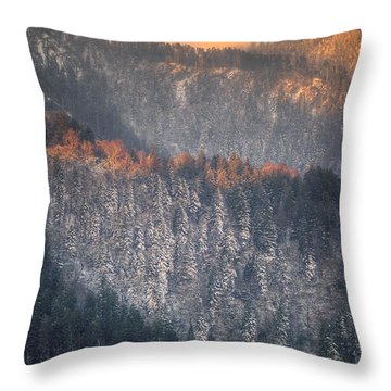 Morning Mountains II Throw Pillow by Rebecca Hiatt