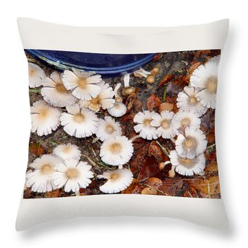 Morning Mushrooms Throw Pillow