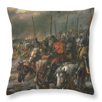 Morning Of The Battle Of Agincourt, 25th October 1415, 1884 Oil On Canvas Throw Pillow