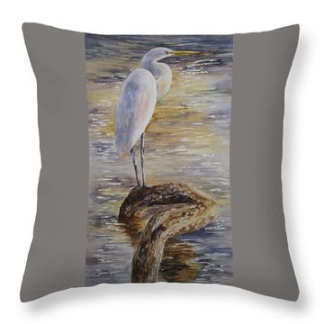 Morning Perch-egret Throw Pillow