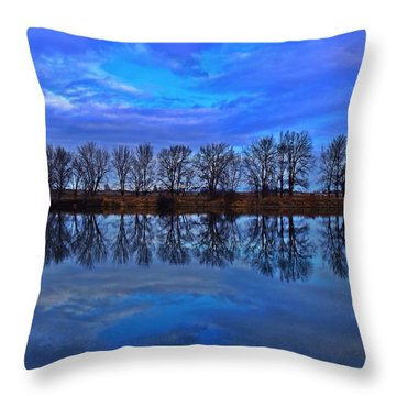 Blue Morning Reflection Throw Pillow
