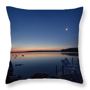 Morning Reflection On Branch Lake In Maine Throw Pillow