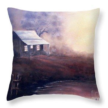 Throw Pillow featuring the painting Morning Reflections by Hazel Holland