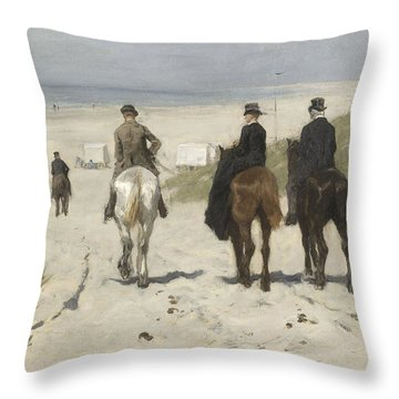 Morning Ride Along The Beach Throw Pillow
