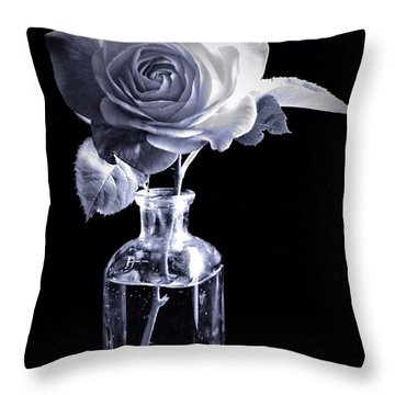 Morning Rose Cyan Throw Pillow