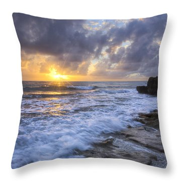 Morning Rush Throw Pillow by Debra and Dave Vanderlaan
