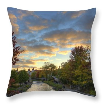 Morning Sky On The Fox River Throw Pillow by Daniel Sheldon