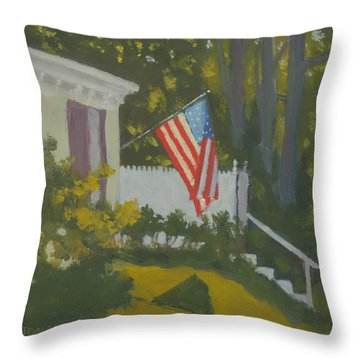 Morning Sun On Old Glory Throw Pillow