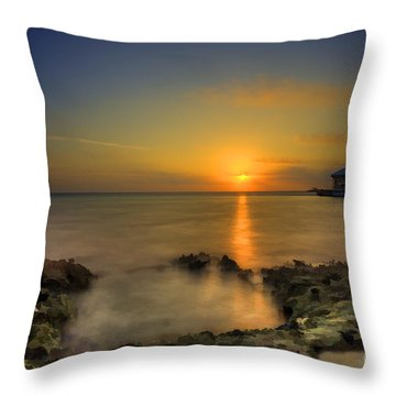Morning Sun Rising In The Grand Caymans Throw Pillow by Dan Friend