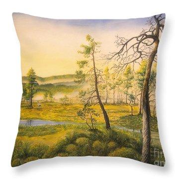 Morning Swamp Throw Pillow by Veikko Suikkanen