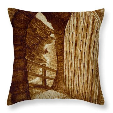Throw Pillow featuring the painting Morning Walk On The Beach Original Coffee Painting by Georgeta Blanaru