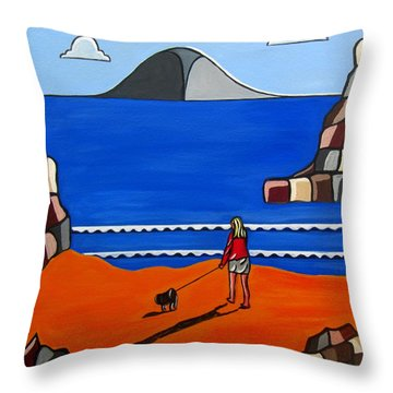 Morning Walk Throw Pillow by Sandra Marie Adams