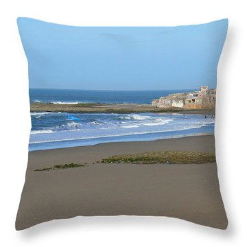 Moroccan Fishing Village Throw Pillow