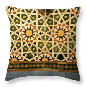Moroccan Water Fountain Throw Pillow by Ralph A  Ledergerber-Photography
