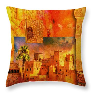 Morocco Heritage Poster 00 Throw Pillow by Catf