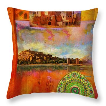 Morocco Heritage Poster Throw Pillow by Catf