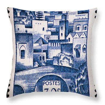 Morocco Vintage Postage Stamp Throw Pillow