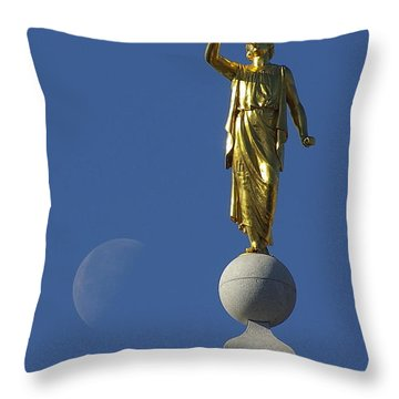 Moroni And The Moon Throw Pillow by David Andersen