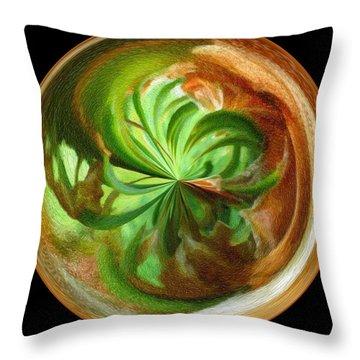 Morphed Art Globes 16 Throw Pillow by Rhonda Barrett