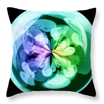 Morphed Art Globes 18 Throw Pillow by Rhonda Barrett